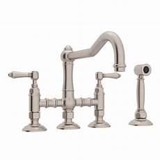 rohl kitchen faucets rohl country kitchen 2 handle bridge kitchen faucet with side sprayer in satin nickel