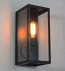 clear glass box cover outdoor retro cage edison bulb wall light metal frame glass wall l