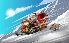 santa claus a snowmobile and rabbit snow racing happy new year merry christmas stock