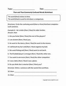 then and than worksheet word usage worksheets commonly confused words worksheets