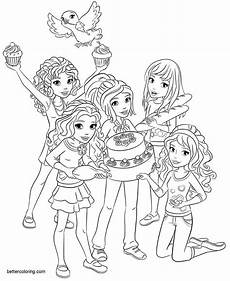 lego friends coloring pages birthday cake free printable
