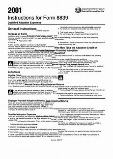 instructions for form 8839 department of treasury internal revenue service 2001 printable
