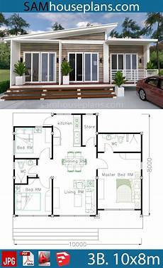 sims 3 small house plans house plans 10x8m with 3 bedrooms in 2020 beach house