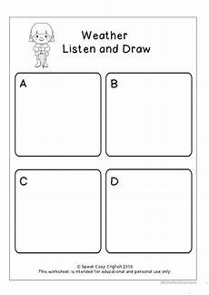 weather listening worksheets 14609 listen read draw weather worksheets esl worksheets английский язык
