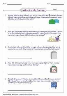 fraction word problems worksheets