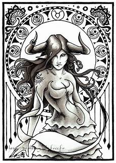 Horoscopes Coloring Pages Taurus Zodiac Signs With
