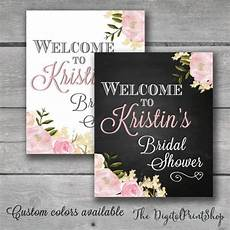 welcome sign watercolor bridal shower rustic chic chalkboard floral garden decor blush spring