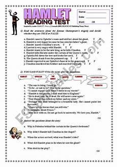 hamlet reading test with key esl worksheet by joebcn