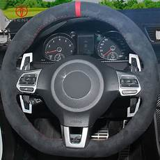 lqtenleo black high quality suede car steering wheel cover