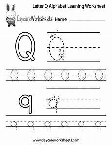 free letter q alphabet learning worksheet for preschool