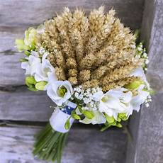 Wedding Bouquet With Wheat Spikes And Flowers Stock Photo