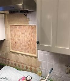 How To Paint Kitchen Tile Backsplash We Painted Our Kitchen Back Splash Hometalk