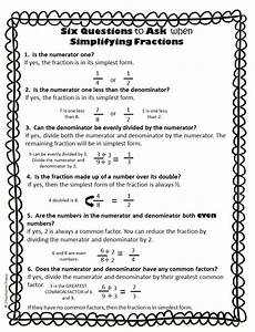 simplifying fractions worksheet and template classroom