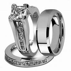 princess cut cubic zirconia couple rings stainless steel wedding ring for and men drop