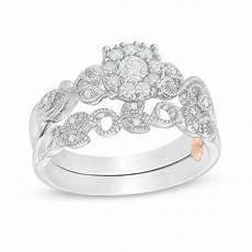 zales vintage wedding rings 1 3 ct t w diamond frame vine shank vintage style interlocking bridal in 10k white gold