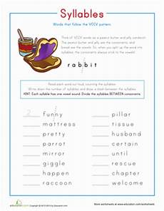 syllable patterns vccv worksheet education com