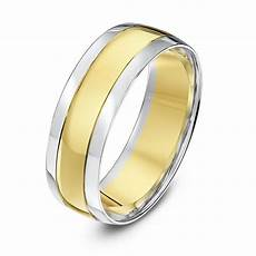 white gold and yellow gold wedding rings 9kt white yellow gold court grooved 7mm wedding ring