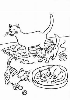 Gratis Malvorlagen Katzen Zum Ausdrucken Ausmalbild Katzen Katzenfamilie Ausmalen Kostenlos