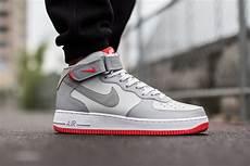 nike air 1 mid 07 grey bright crimson sneaker bar