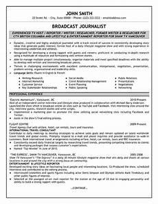 broadcast journalist resume sle template