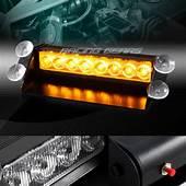 8 LED AMBER EMERGENCY CAR TRUCK SUV DASHBOARD WARNING