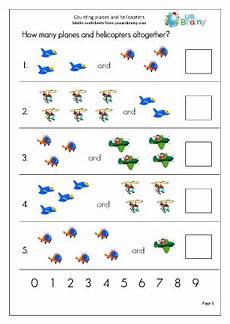 count 2 sets of objects up to 10 aircraft counting maths