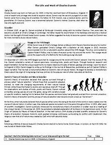 the life and work of charles darwin reading comprehension worksheet