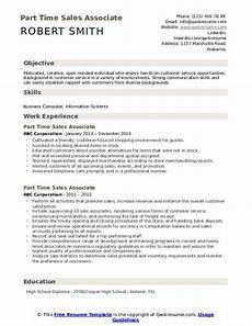 part time sales associate resume sles qwikresume