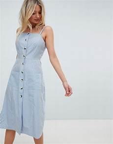asos design fuller bust stripe button through midi sundress asos