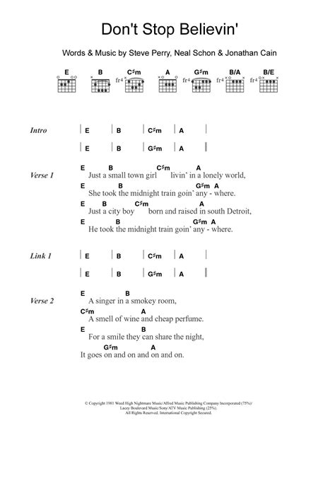 Don T Stop Believing Chords
