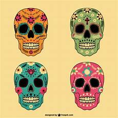 mexican skulls set in different colors free vector