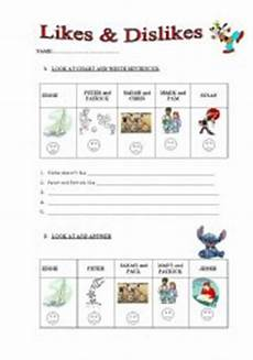 likes and dislikes worksheet by vicky 09