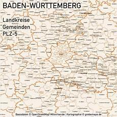 Plz Baden Baden - baden w 252 rttemberg vektorkarte landkreise gemeinden plz 5