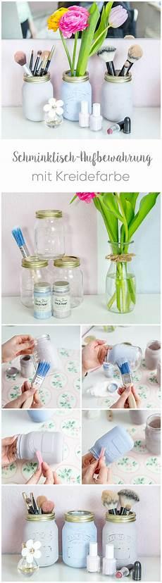 kreidefarbe auf glas diy schminktisch aufbewahrung mit kreidefarbe