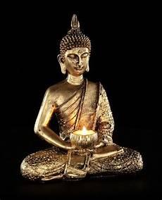 Teelichthalter Sitzender Thai Buddha Figur Statue Deko