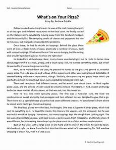 reading comprehension worksheet what s your pizza