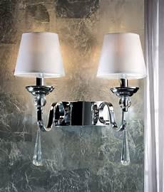 chrome crystal led white shade wall light