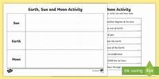 earth sun and moon fact table activity earth sun and moon fact worksheet