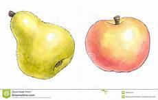 Malvorlage Apfel Und Birne Aquarellmalerei Eines Satzes Frucht Birne Und Apfel Stock