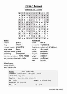 italian musical terms worksheet grade 2 theory by