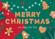 merry christmas card template with gingerbread letters and cookies premium vector