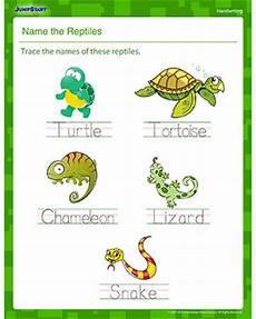 name the reptiles printable handwriting worksheet jumpstart