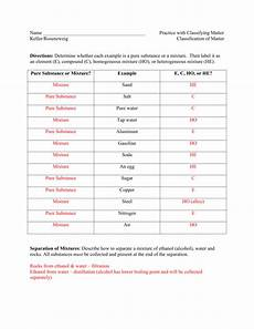 classification of matter worksheet key