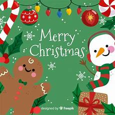 cute merry christmas background with snowman and gingerbread free vector