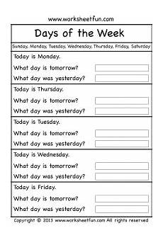 s day worksheets grade 1 20359 days of the week worksheets teaching teaching learn