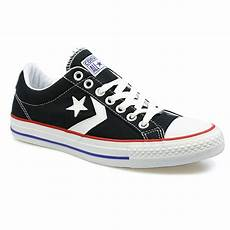 converse player ev ox black and white canvas low top