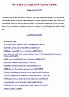 download car manuals pdf free 2008 dodge dakota spare parts catalogs 08 dodge durango 2008 owners manual by doreencoyle issuu