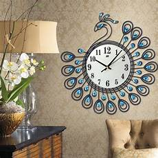 Large Wall Clock Luxury Peacock Metal by Luxury Peacock Large Wall Clocks Metal Living Room