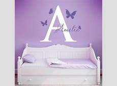 Inital and Butterflies Wall Decals, Butterfly Nursery Wall