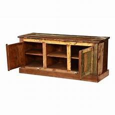 pioneer rustic reclaimed wood open shelf media tv stand